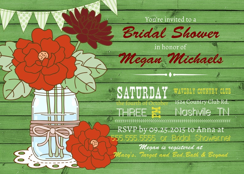 Baby Shower,Flowers,Rustic Banner,Fall invitation Bridal Shower Fall wedding invitations Mason Jar Shower Invitation Wood