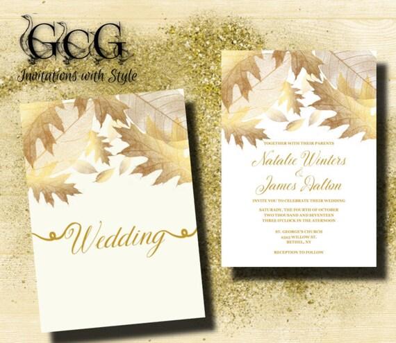 maple leaf wedding invitation gold leaves invitation fall wedding