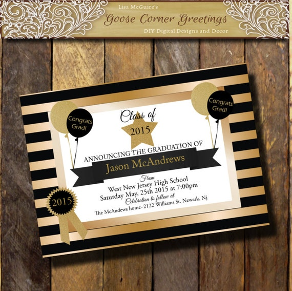 Gold black graduation invitation glitter announcement any etsy image 0 filmwisefo