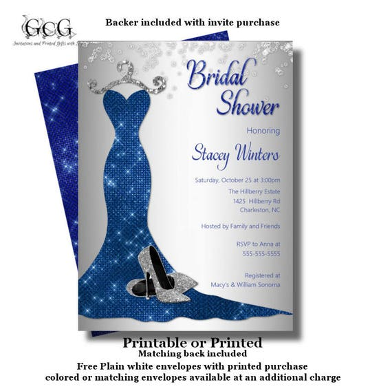 caac40144bb Royal blue Bridal Shower invitation - Bling Bridal Shower - Blue Sequin  dress - Wedding Dress invitation - Navy Bridal Shower invitations