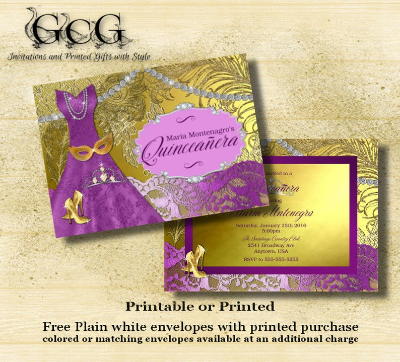 Invitation For Quinceanera Or Sweet 16 Birthday Party Choose Any Color Purple And Gold Printed Invitations With Envelopes TEEN