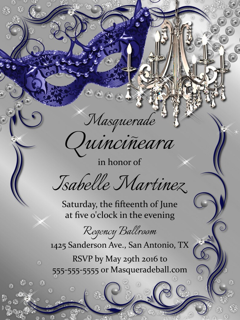 Sweet 16 Invitation Invitations 15 Invite Quinceanera Blue And Silver Birthday
