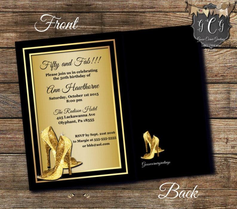 Black and Gold 50th Birthday Invitations Birthday Invitation,Printable invitations,Glitter high heel 50 and Fabulous Birthday Invitations