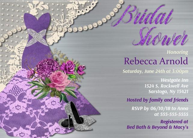 Purple Bridal Shower invitation Dress  Purple Bridal Shower Pearl's Lace Printed wedding Shower invite Printable Bridal Shower Invitations