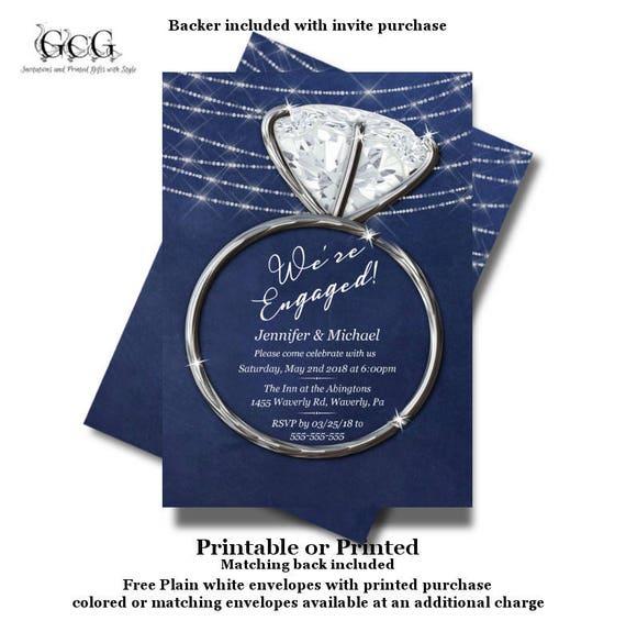 Engagement Party Invitations Printed Invitation Printable Diamond