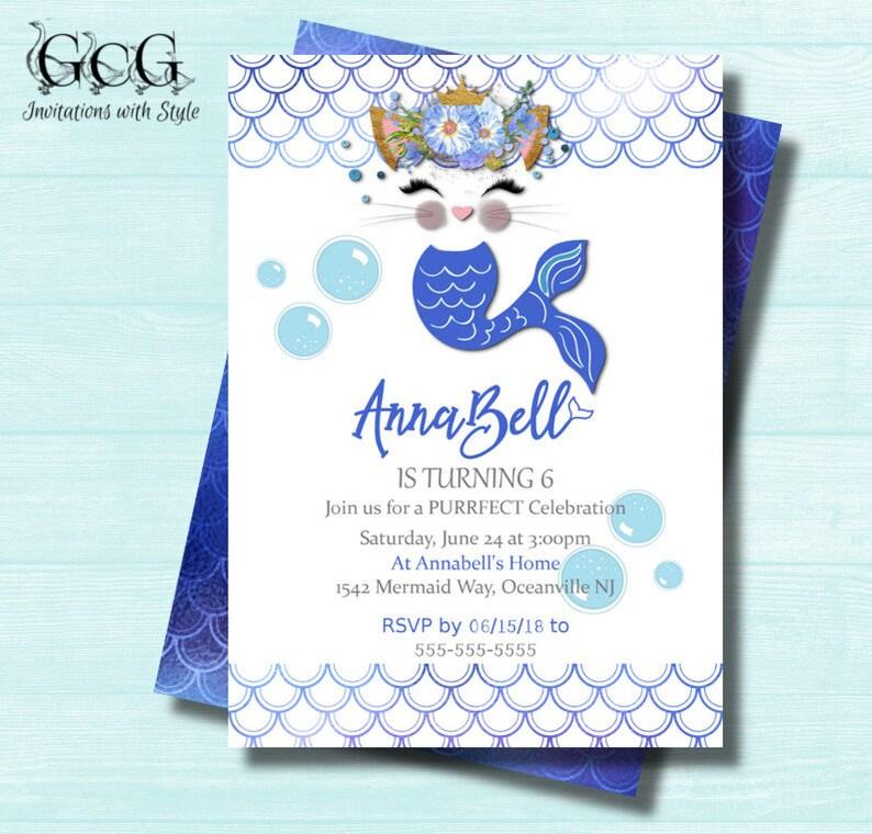 Mercat Invitations Printable Birthday Invitation Cat Mermaid