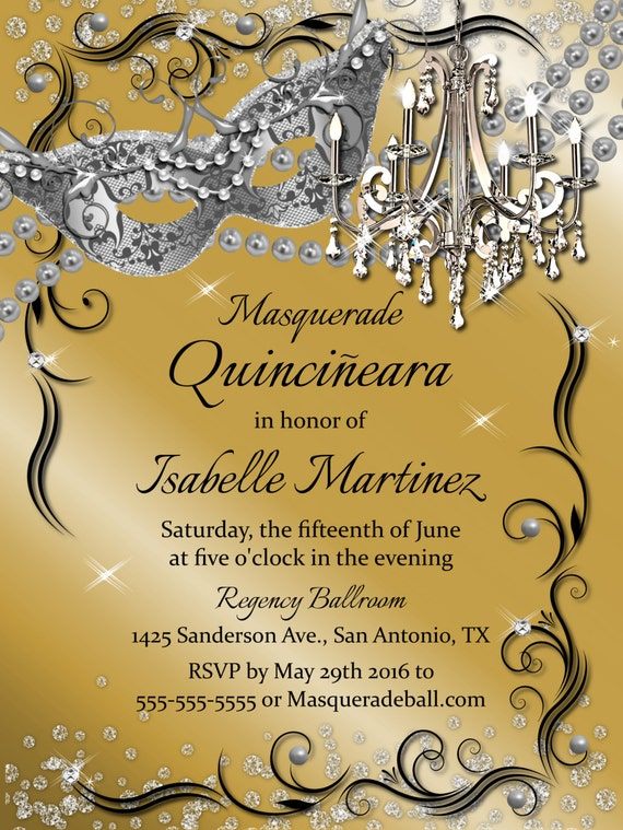 Chandelier Masquerade Gold Quinceanera Invitation Sweet 16