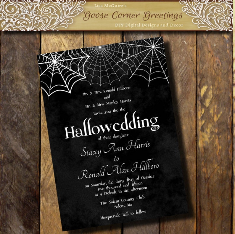 photograph regarding Printable Gold Card Application Harris County identify Printable Halloween Marriage Invitation Hallowedding invites Gothic invitation Spider Wed invites Black and white invitation