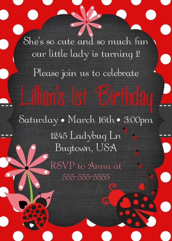 Red Black Ladybug Birthday Invitation 1st 2nd 3rd 4th 5th Polkadot Chalkboard Baby Shower Bridal Choose Your Colors