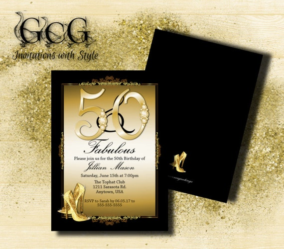 50th Birthday Invitation for woman, 50th Birthday, Fifty and Fabulous, black and gold, printable or printed with envelopes choose your color