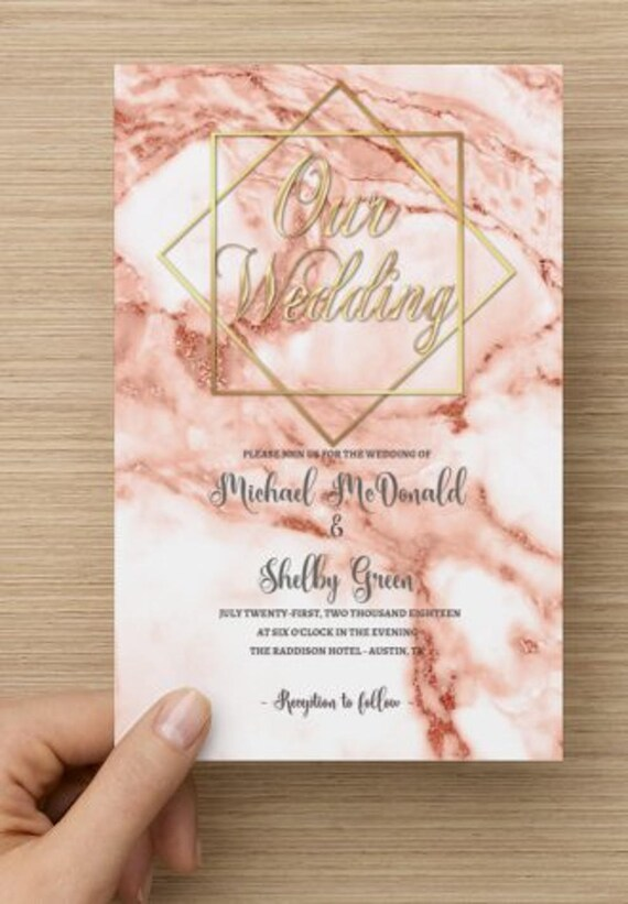 Rose Gold Marble Wedding Invitations Marble Invitation Rose Gold