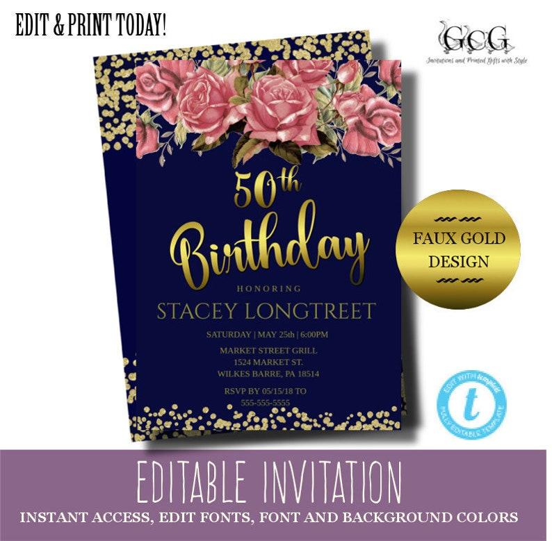 50th Birthday Invitation Women Instant Download Fiftieth Birthday Invite Diy Birthday Invitation Floral Birthday Invitation Rose Invite