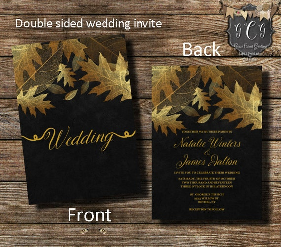 Elegant Fall Color Wedding Inviation: Fall Wedding Invitations, Fall Leaves Invitation, Fall