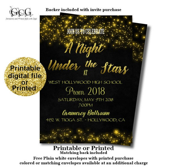 prom invitation under the stars prom night invite sparkle prom