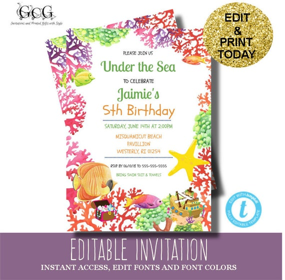 Under The Sea Birthday Party Invitation DIY Printable Invite