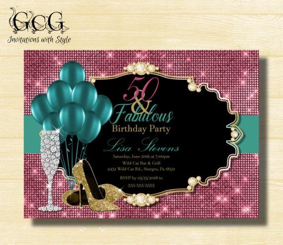 50th Birthday Invitation For Women 50 And Fabulous Birthday High