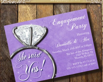 Engagement Party Invitation,Diamond ring Engagement Party invite,Announcement Chalkboard invitations, Couples Shower She Said Yes