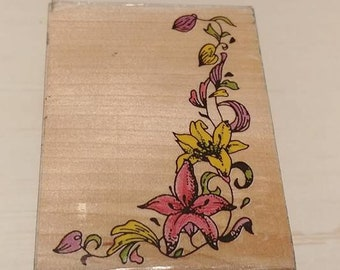 Retired Rubber Stamp   -     Flowered Corner