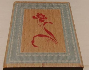 Retired Rubber Stamp  -   Flower in Frame