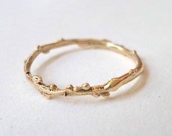 14K twig stacking ring, wild Galilee Lavender organic gold ring