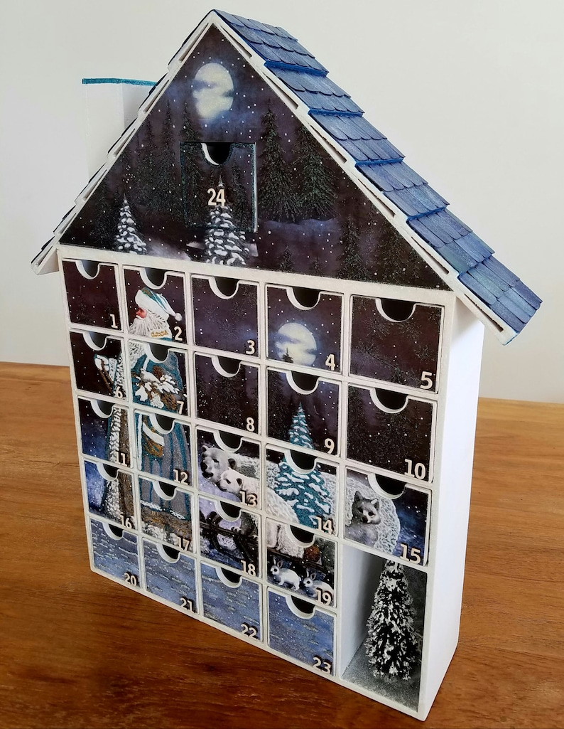 A gift that keeps on giving all month long! Decoupage Santa/'s Sleigh Advent Calendar