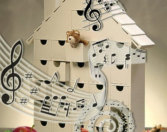 NEW - Musical Wooden Advent Calendar - DIY  (Tune: Edelweiss )