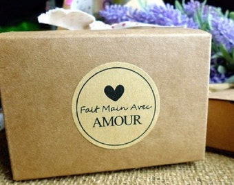 """Fait main Avec Amour (""""handmade with love"""") Kraft Seal Sticker / Label , Gifts"""