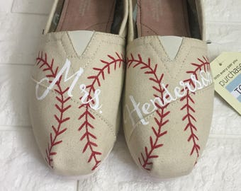 45aeeaa92312d Glitter Navy Baseball Toms hand painted baseball shoes | Etsy