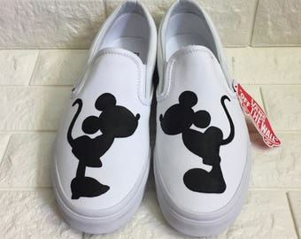 19c52038d7 Kissing Mickey   Minnie Vans  Disney Shoes  Mickey Shoes. Mickey and Minnie  Kissing. Minnie Silhouette. Mickey Silhouette