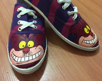 7c15be23fa5ccb Cheshire Cat Shoes. Hand Painted Shoes. Alice In Wonderland Shoes. We re  All Mad Here. Mat Hatter Shoes. Disney Shoes Vans Toms
