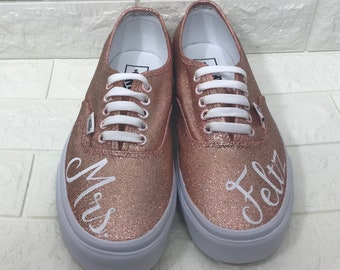 f47d06f500fd04 Rose Gold Wedding Vans. Wedding Date Shoes. Rose Gold Glitter Toms Rose  Gold Glitter Shoes. Save the Date Shoes. Rose Gold Toms