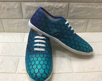 780b370bdcf5 Sparkly Ombre Mermaid Shoes. Handpainted Mermaid Scale Shoes. Can make Mermaid  Scale Toms