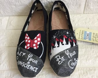 d7be9e66918 Minnie Mouse Disney Custom Toms  disney toms  Magic Kingdom Toms. Minnie  Mouse Toms. Disney World Toms Let Your Conscience Be