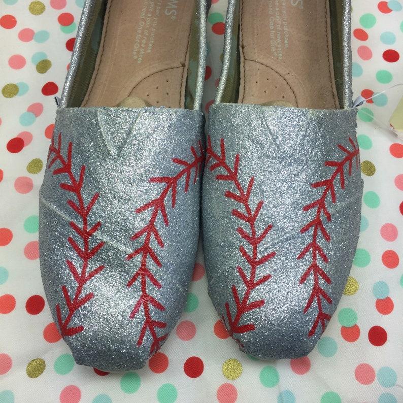 b020372de55e5 Silver Baseball Toms [hand painted baseball shoes] Baseball Stitch Toms.  Baseball stitch shoes