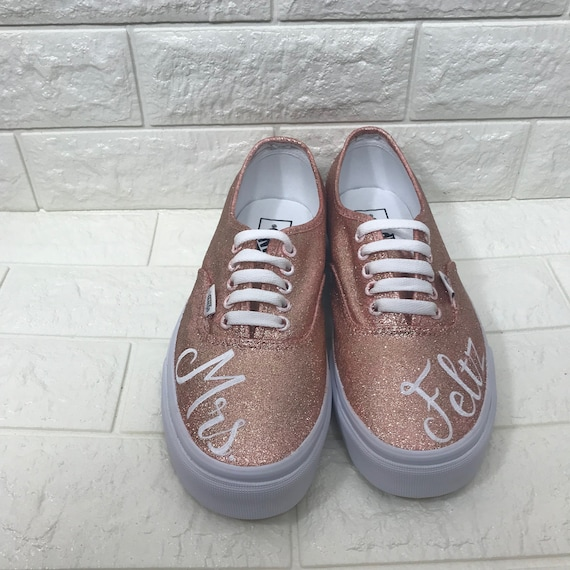 d7849e32fcf6 Rose Gold Wedding Vans. Wedding Date Shoes. Rose Gold Glitter