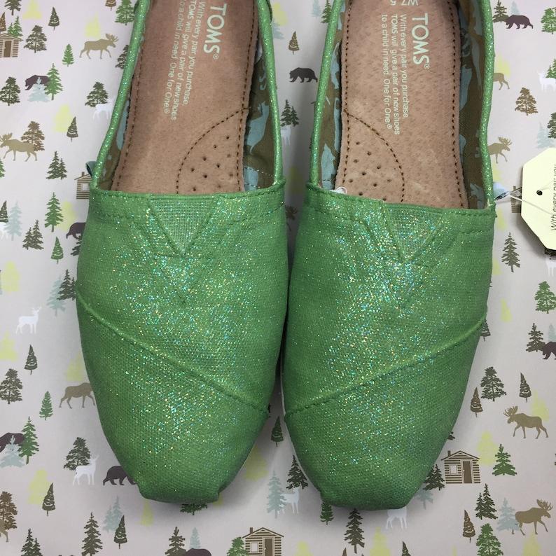 7c393c390a6 Green Glitter Toms. Green Glitter Shoes. Green Wedding Shoes.