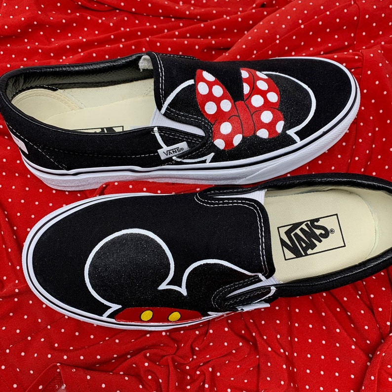 90a1596b111 Minnie Mouse Disney Shoes [MICKEY mouse shoes] Disney World Shoes. Painted  Disney Shoes. Minnie Mouse Bow Shoes. Simple Disney