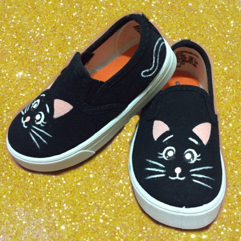 506fd53435c11 Kitty Cat Shoes Kids Shoes. Black Cat Shoes.