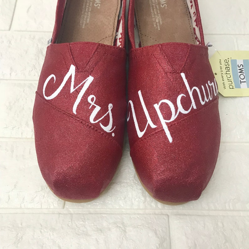 bcbaba885ab Mrs Wedding Toms. Red Glitter Shoes Red Glitter Toms. Wizard