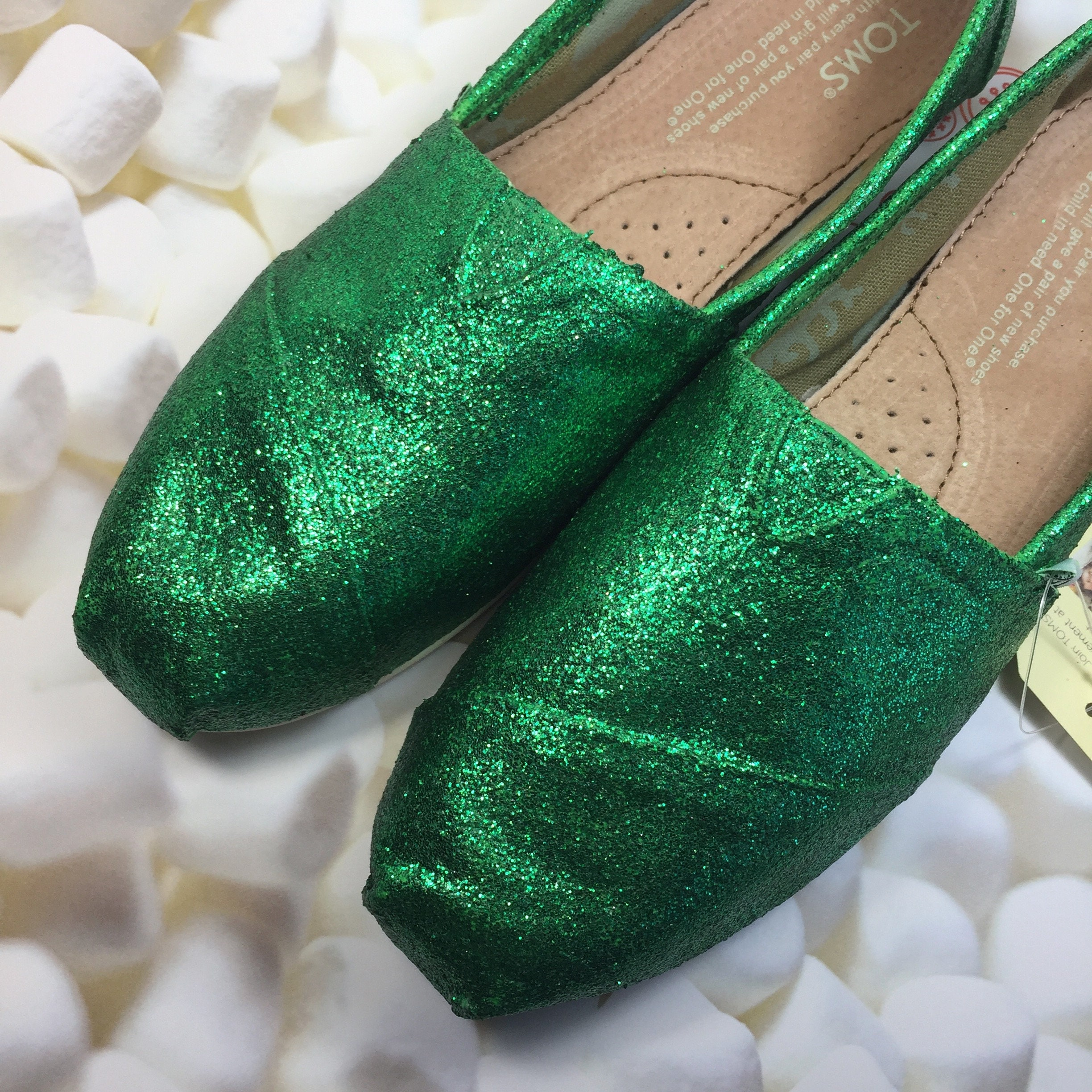 f0e269b1f8e3 Green Glitter Toms Green Shoes Green Wedding Toms. Forest