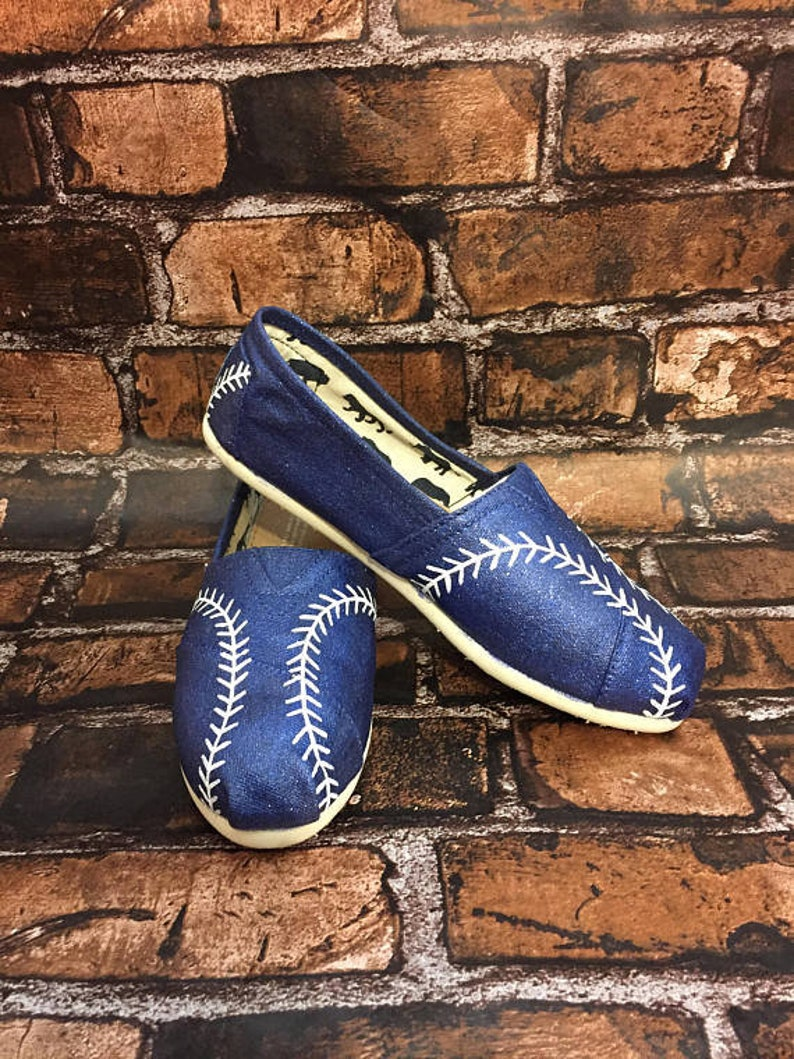 d899dd3e62ea7 Glitter Navy Baseball Toms [hand painted baseball shoes] Baseball Stitch  Toms. Baseball Stitch Shoes. Can be made without glitter
