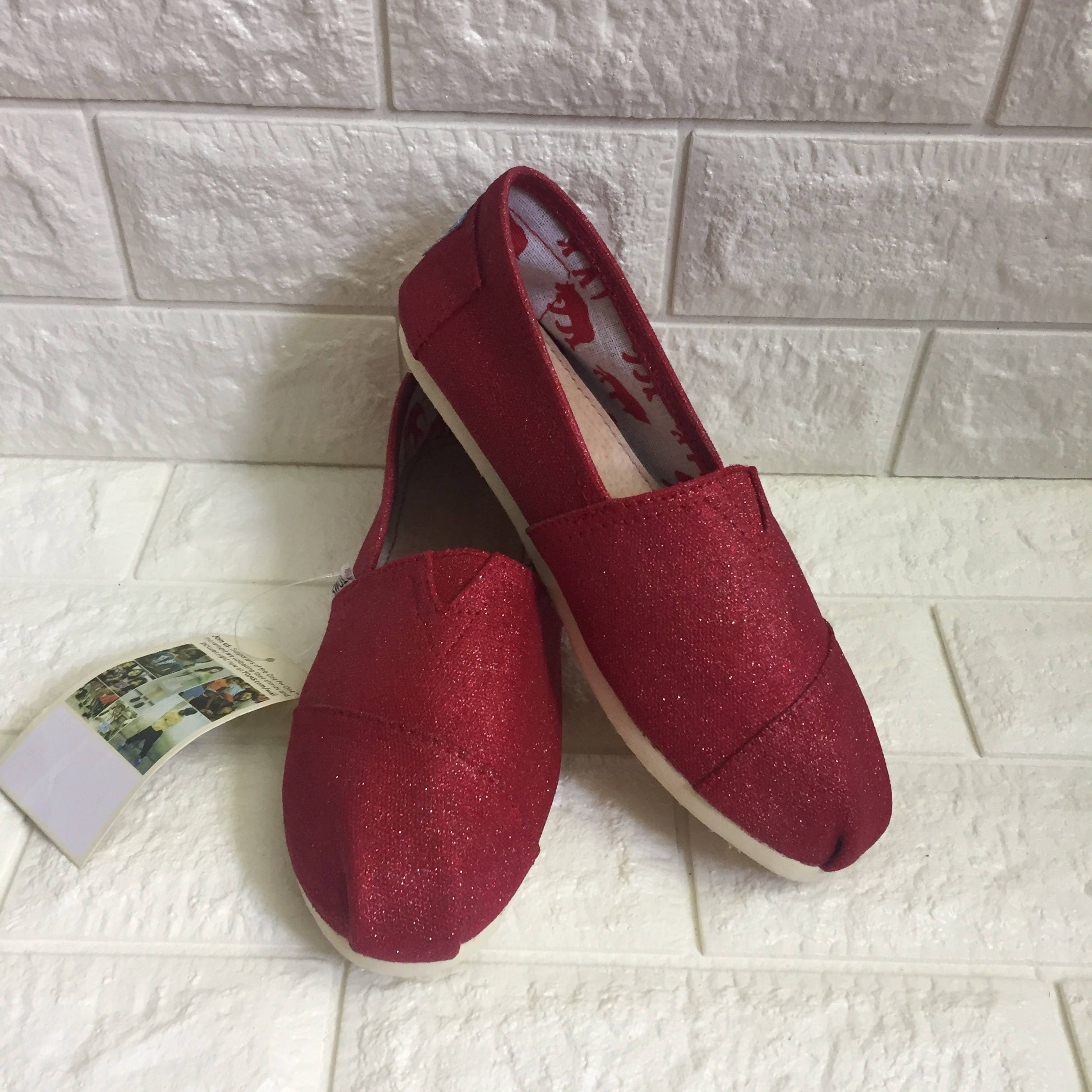 d3cfd402d9d Red Glitter Toms. FREE PERSONALIZATION Dorthy Toms Red