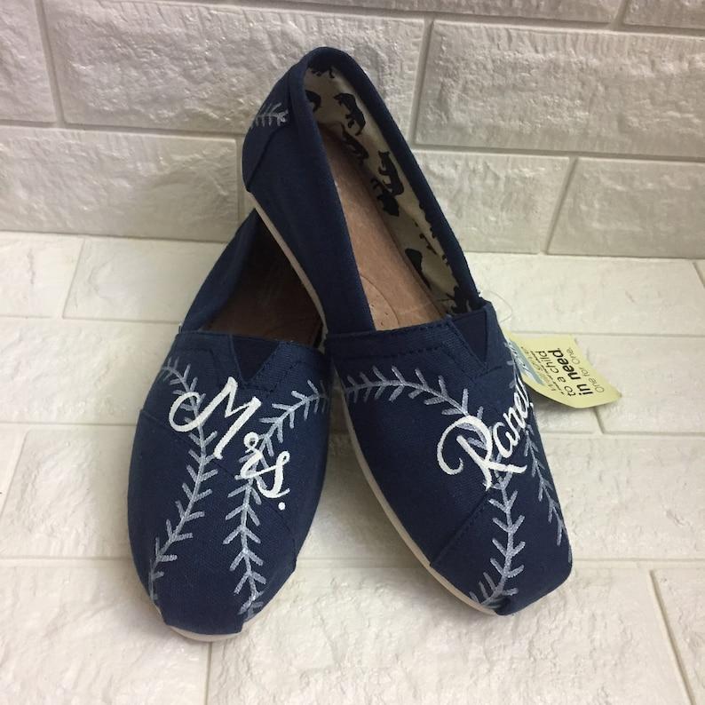 6c48bdb9a47bd Wedding Baseball Toms [hand painted baseball shoes] Navy. Baseball Stitch  Toms. Baseball stitch shoes