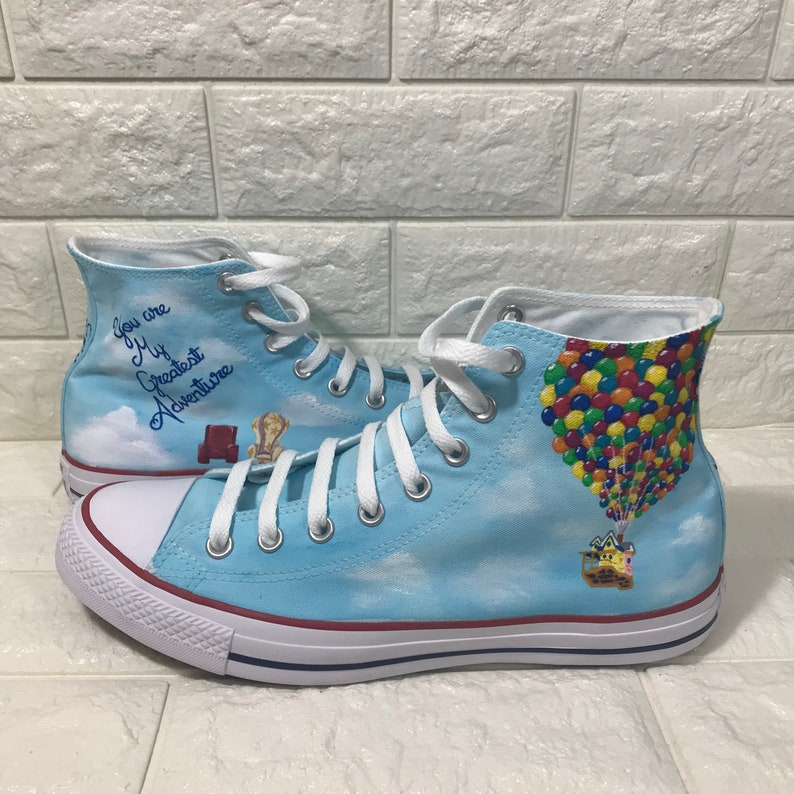 51293262b09c UP Converse. Hand painted custom shoes. Ellie   Carl.