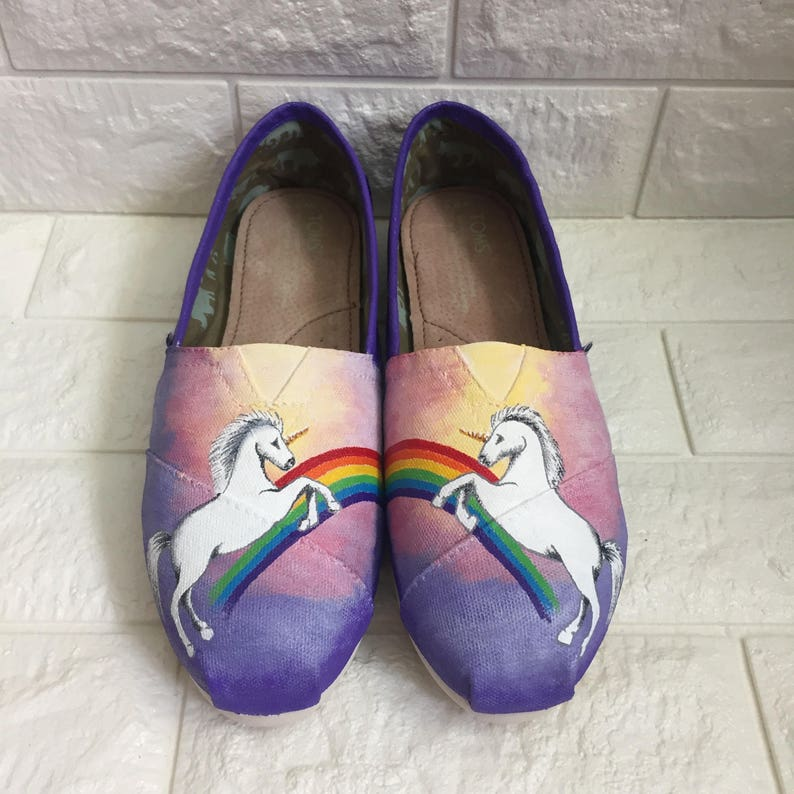 12dd87afec030 Unicorn Toms. Hand Painted Toms. Custom Toms. Rainbow Toms. Unicorn Tears.  Rainbow Bright. Mermaid Toms. Mythical Toms. Unicorn Shoes.