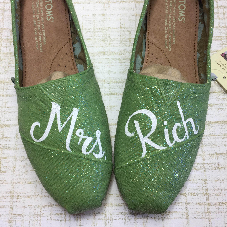 0a3555fae5b Mrs Wedding Toms. Green Glitter Shoes Pistachio Toms Green