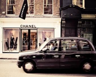 Designer stylish print, chanel print, london photography, taxi cab, Stylish decor, chic,travel photography, girly bedroom, london print