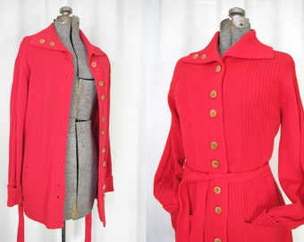 SM 1960s wool sweater long belt belted cardigan red cranberry merino wool S M size small to medium 32 34 36 38 cardi collar buttons belt S