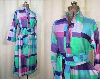 c73725d713a9f6 1970s Dress | Large Geometric Boho Dress | Vintage Dress Large Shirtwaist  Blue Green
