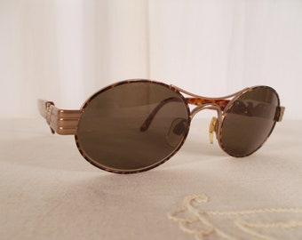 2dfa90f94475 Vintage 1990s Sunglasses   90s Round Grunge Sunglasses   Emporio Armani  Tortoise Shell Sun Glasses